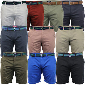Mens-Chino-Shorts-Threadbare-Belted-Westace-Pants-Knee-Length-Roll-Up-Summer-New