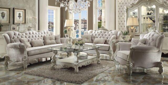 Versailles Traditional Ivory Velvet Formal Living Room Set Sofa Love Carved  Wood