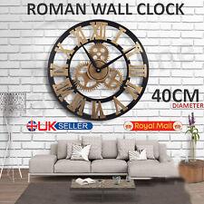 LARGE INDOOR OUTDOOR GARDEN WALL CLOCK ROMAN NUMERALS GIANT OPEN FACE METAL 40CM