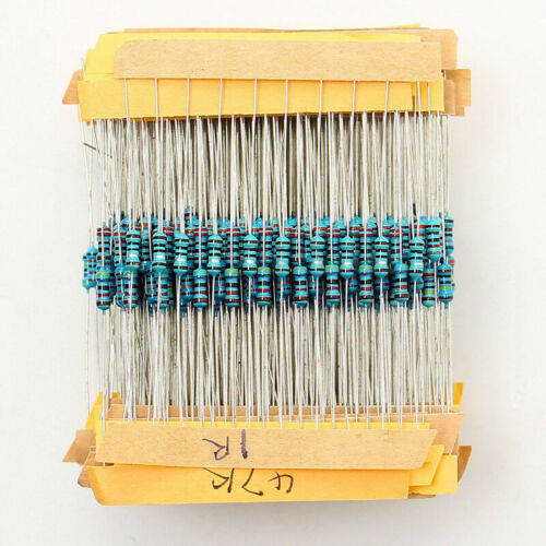 500x 50 Values 1//4W 1/% 1Ω~10MΩ Metal Film Resistors Resistance Assortment Set