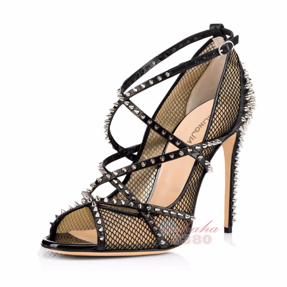 Women Spikes Fishnet Extreme High Heels Strappy Rivets Mesh Peep Toe Sandals