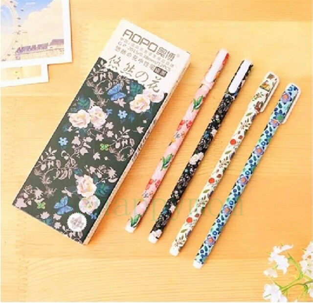 "Cute 12pcs ""the Flower of Carefree""  RollerBall Pen/Gel Pen Black Ink-0.38mm New"
