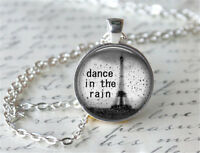Dance in the rain Cabochon Silver plated Glass Chain Pendant Necklace #D51