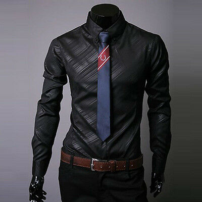 Mens Stripe Casual Shirt Tops Long Sleeve Button-Front Slim Fit Dress Shirts