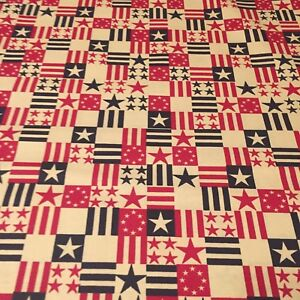 QOV-Patriotic-USA-Stars-and-Stripes-100-nice-weight-COTTON-FABRIC-by-the-yard