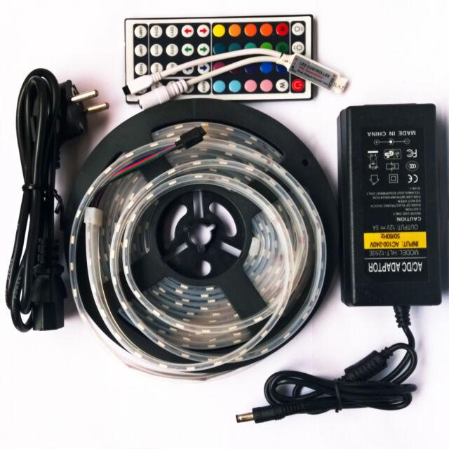 5m IP67-Waterproof Tube 5050 RGB 300 LEDs Strip Light +5A Power Supply 44Keys IR
