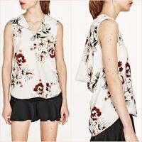 Zara Cream Floral Sleeveless Blouse Top Size XS S 6/8 8/10 US 2/4 4/6 Blogger ❤