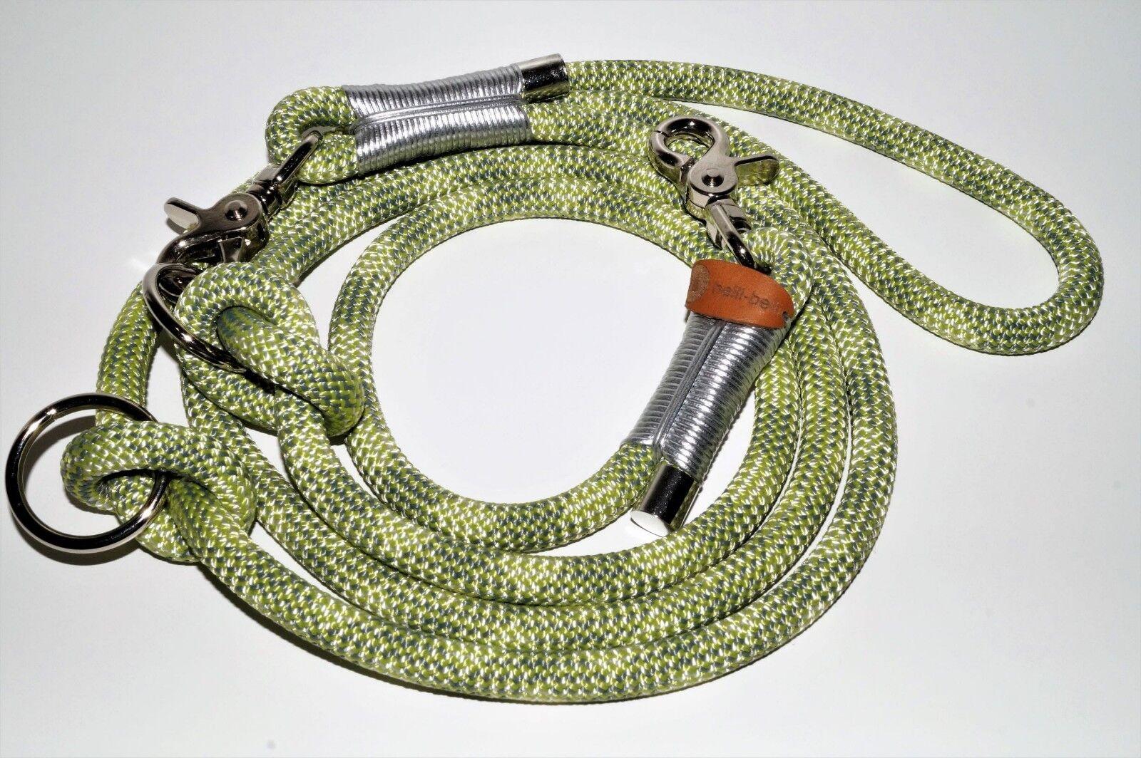 Hundeleine Seil 250cm oasis stone leder silber chrom  | Gemäßigten Kosten