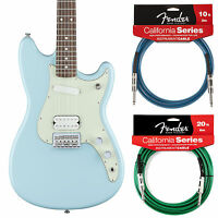 Fender Duo Sonic Hs Guitar Daphne Blue Offset - Includes 2 California Cables