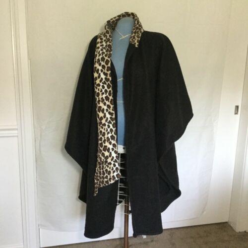 Women's Winter Wrap Pancho Cape Attached Leopard P