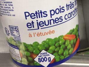 Lot-revendeur-destockage-Palette-De-9-Boites-Petits-Pois-Carottes-Petit-Prix