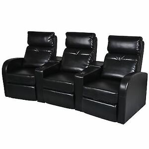 Artificial Leather Home Cinema Recliner Reclining Sofa 3-seat Black ...
