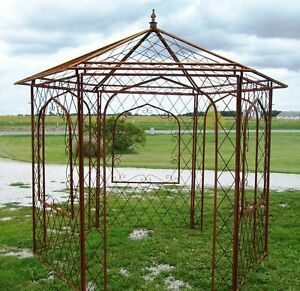 Image Is Loading Wrought Iron Flower Arbor Garden Gazebo Trellis Metal