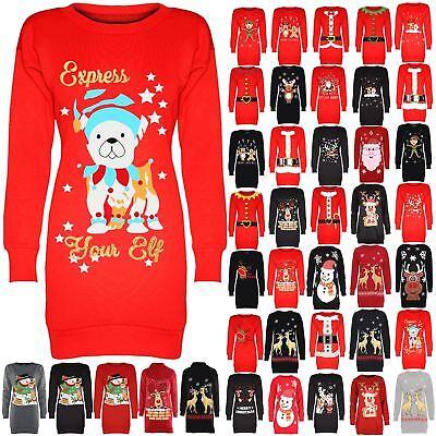 Neueste Kollektion Von Womens Ladies Elf Reindeer Santa Christmas Long Sweatshirt Tunic Jumper Dress