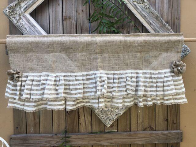 Burlap Valance Window Treatment Farmhouse Rustic Shabby Chic Curtain For Sale Online