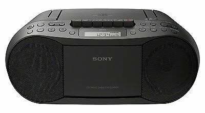 Sony Stereo CD/Cassette Boombox Home Audio Radio, Black (CFDS70BLK) free ship