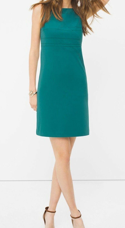 Weiß House schwarz Market Seamed Shift Dress Größe 6 Grün Sleeveless  Retail