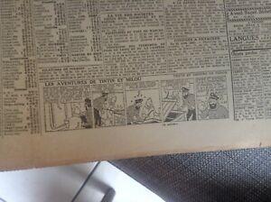 Rare-ancien-journal-Le-soir-1943-Strip-Tintin-BE