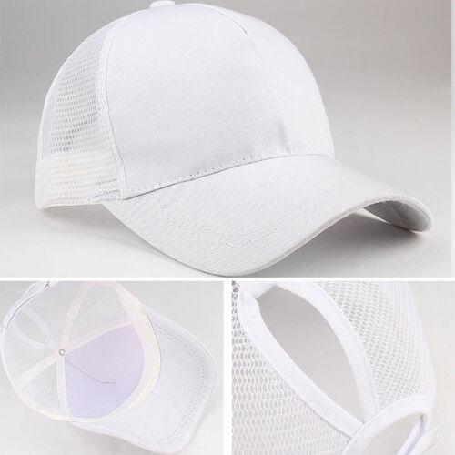 Men Ladies Ponytail Baseball Cap Snapback Summer Women Sun Sport Mesh Hat Black
