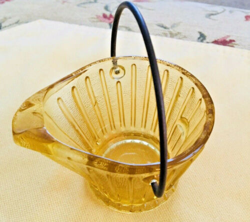 Continental Can Co CCC Amber Glass Bucket Ashtray W//wire Handle Retro