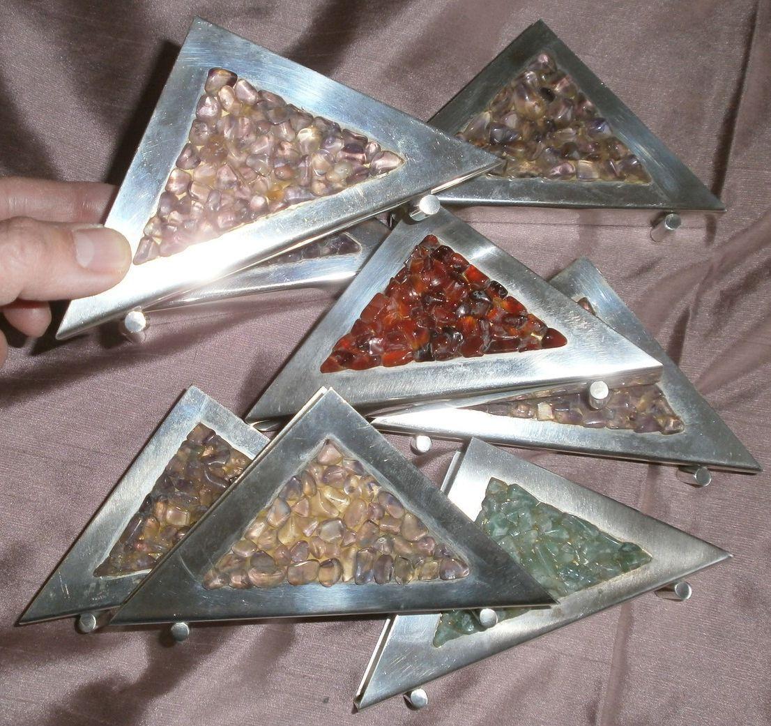 8 porte-serviettes vintage en métal argenté & pierres Couleurées