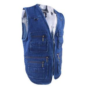 Men Lightweight Vest Denim Jacket Breathable for Fishing Hunting Photography
