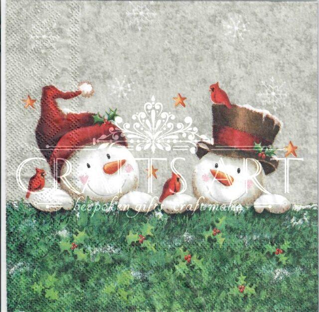 4 Single paper decoupage napkins snow -X93 Christmas winter,snow man