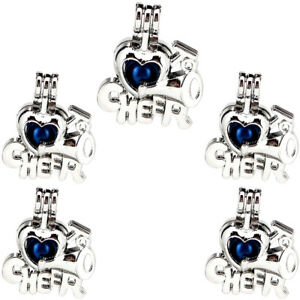 5 pack silver cheer letter happy horn beads cage locket pendant image is loading 5 pack silver cheer letter happy horn beads altavistaventures Gallery