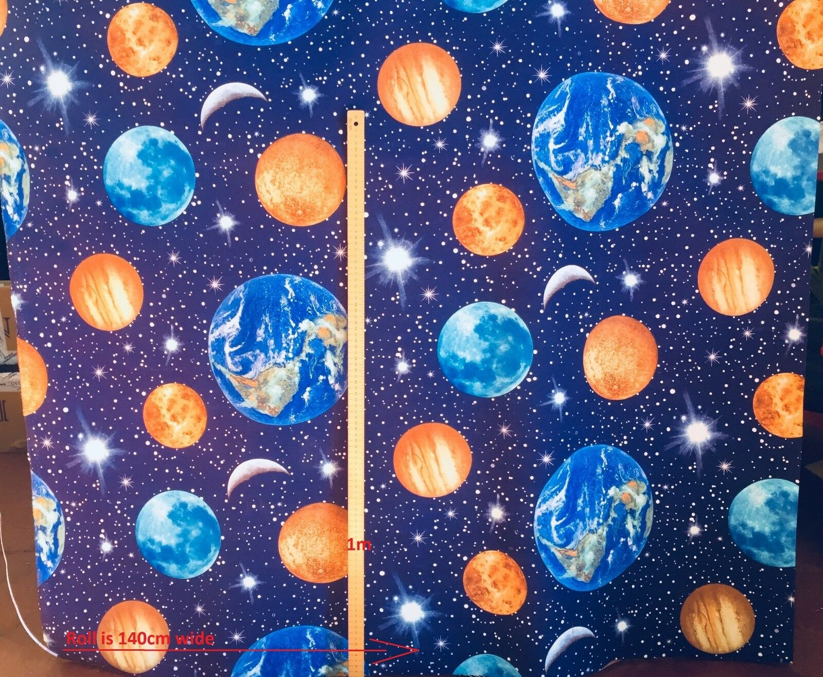 PLANET EARTH Upholstery Curtain Cotton Fabric Material universe stars 140cm wide