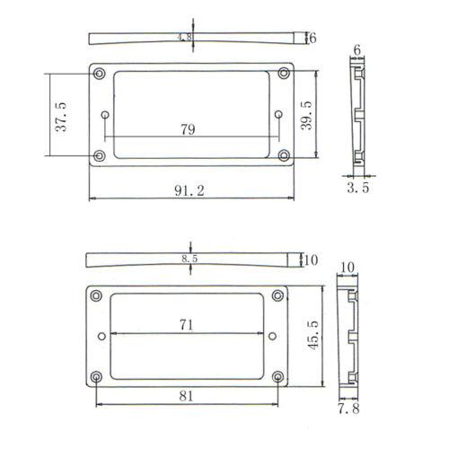 Kunststoff Dual Humbucker Pickup Montage Ring Rahmen für LP Les Paul E