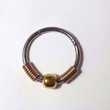 Surgical Steel,Gold BCR  Rose Gold Spring - Hinged Piercing Ring, Hoop 18g -1mm