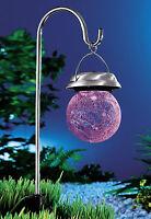 Solarleuchte Solarlampe Solarkugel Weiß Farbwechsel Bruchglasdesign >>neu