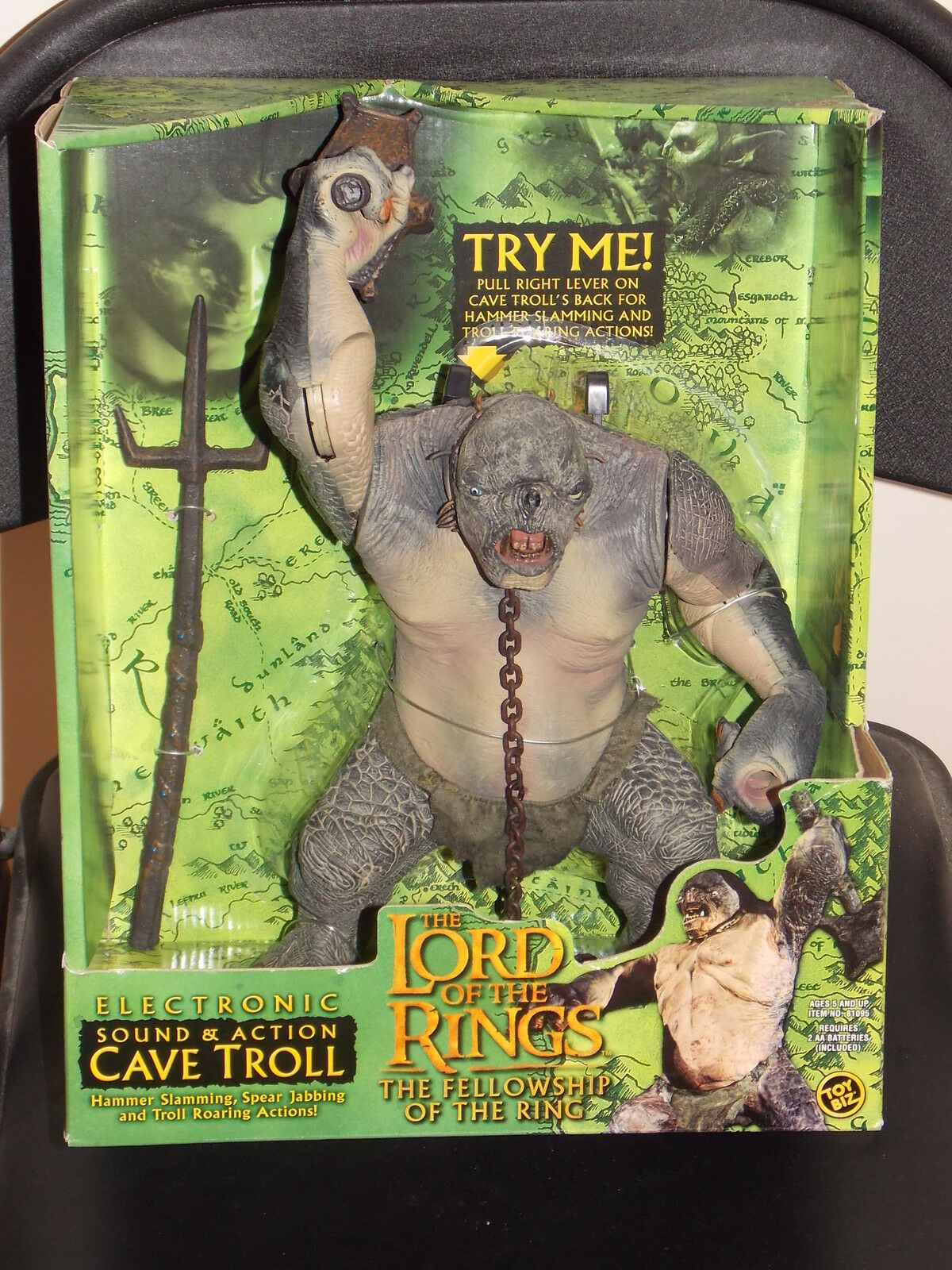 2001 Lord Of The Rings Electronic Sound & Action Cave Troll Figure Nuovo In Box