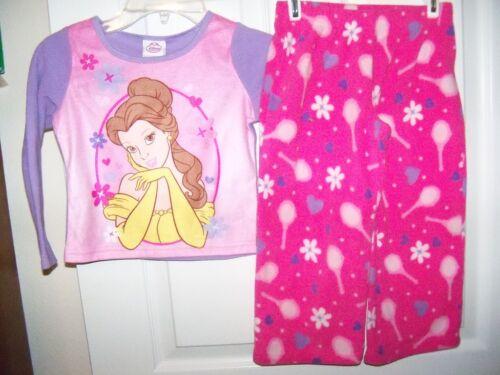 Princess Belle 2 Piece Pajama PJ  Flannel Girls Size 4 NWT  #12