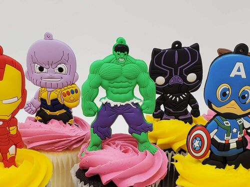 and Thor Hulk Avengers Birthday Cake Topper and Party Favor Set with Iron Man