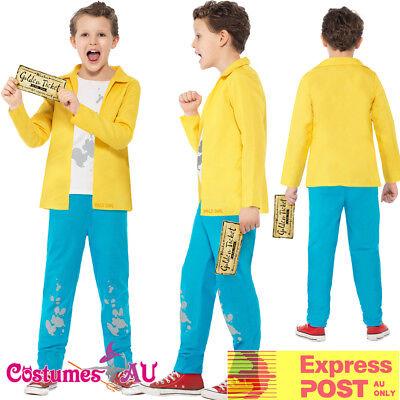 Boys Roald Dahl Charlie Bucket Costume Kids Book Week Yellow Willy Wonka