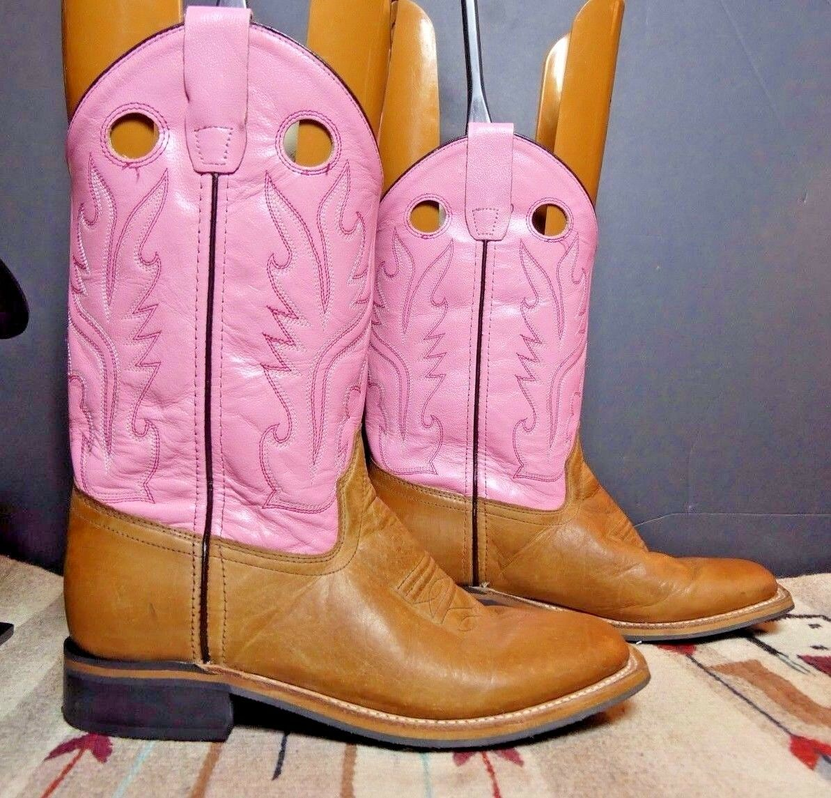 Women's Old West Tan/Pink Shaft Cowboy Western Boots Sz. 6M EXCELLENT