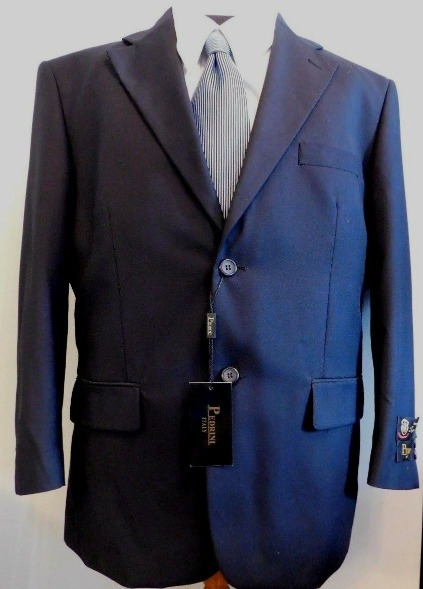 NWT Pedrini of  2 Button Dark Navy All Season Suit Sz 42-Short 36W (St-110)