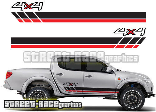 Mitsubishi l200 031 side racing stripes stickers decals graphics 4x4 offroad