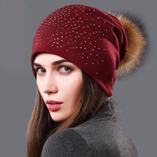 Winter Fashion Hat For Women With Rhinestones Hat Fur Pom Poms Beanie Skullies