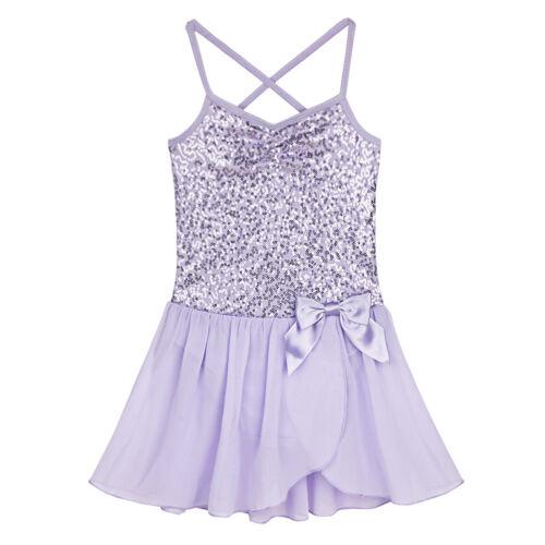 Kid Girl Gymnastic Shiny Leotard Dress Ballet Dance Tutu Skirt Dancewear Costume