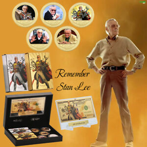 WR-Stan-lee-Marvel-Comics-Gold-Coin-Banknote-Paying-Cards-Gift-Box-Set-For-Fans