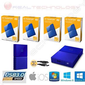HARD-DISK-ESTERNO-2-5-WESTERN-DIGITAL-MY-PASSPORT-1TB-2TB-3TB-4TB-USB-3-0-BLU