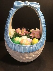 Vintage Ceramic Easter Bunny Basket with Eggs Large Hand Painted 1985 CUTE~HTF!