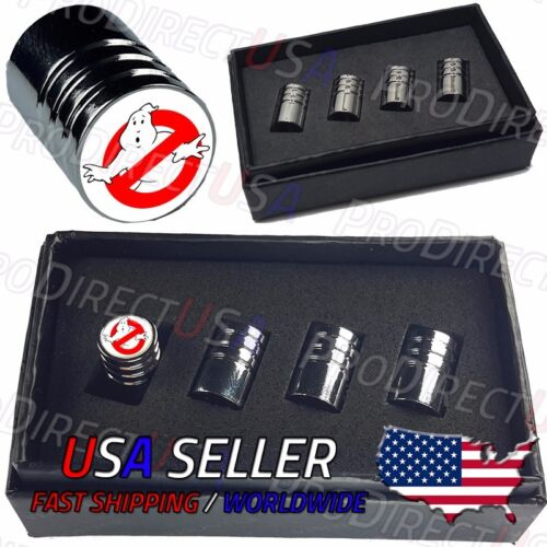 Ghostbusters Logo Car Valve Stem Caps Chromed Roundel Tire Ghost Busters 1 2 USA
