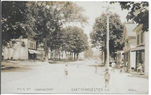 RPPC-034-Main-St-Looking-East-East-Worcester-N-Y-034-Store-Homes-People-c1909-Bolles