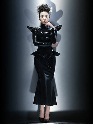 Rubber Latex Queen Dress Beautiful Outfit Sexy Latex Dress Raised Small Wings