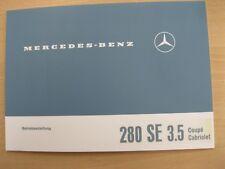 Original Betriebsanleitung Mercedes-Benz W111 280SE 3,5 Coupe/Cabrio NEU Deutsch