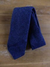 auth DRAKE'S Drakes of London blue wool silk self-tipped tie - NWOT