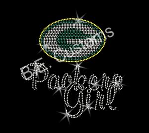 "Iron On Rhinestone Transfer /""Green Bay Packers Girl/"" Hotfix"